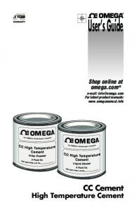 High Temperature Cement - Omega Engineering