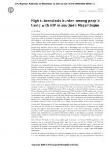 High tuberculosis burden among people living with HIV in southern ...