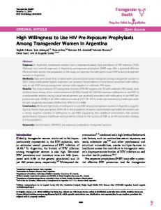 High Willingness to Use HIV Pre-Exposure Prophylaxis Among ...
