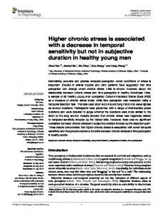 Higher chronic stress is associated with a decrease in ... - Frontiers