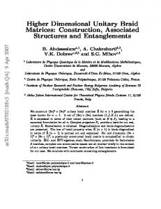 Higher Dimensional Unitary Braid Matrices: Construction ... - CiteSeerX