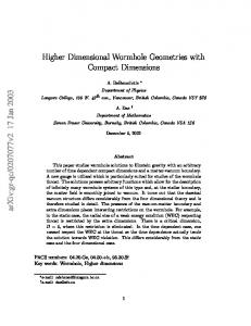 Higher Dimensional Wormhole Geometries with Compact Dimensions