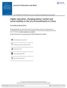 Higher education, changing labour market and social mobility in the ...