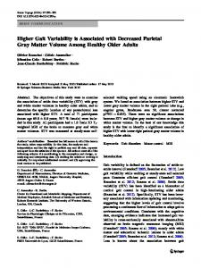 Higher Gait Variability is Associated with Decreased ... - Springer Link