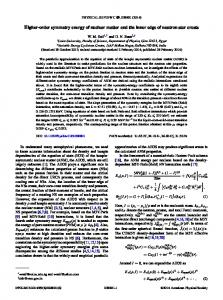 Higher-order symmetry energy of nuclear matter ... - APS Link Manager