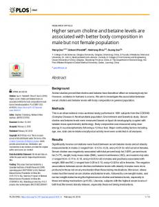 Higher serum choline and betaine levels are associated with ... - PLOS