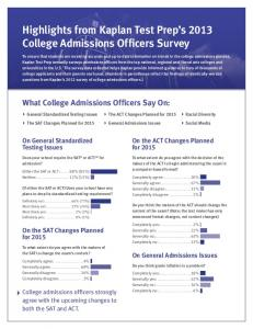 Highlights from Kaplan Test Prep's 2013 College Admissions ...
