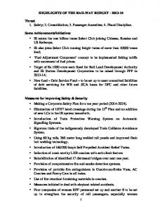 HIGHLIGHTS OF THE RAILWAY BUDGET - 2013 ... - Indian Railway