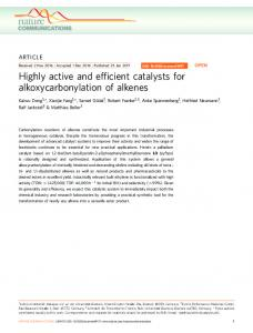 Highly active and efficient catalysts for