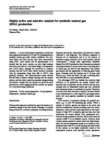 Highly active and selective catalyst for synthetic natural ... - Springer Link