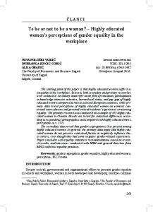 Highly educated women's perceptions of gender equality in the