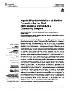 Highly Effective Inhibition of Biofilm Formation by