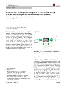 Highly efficient and recyclable acetylation of phenols