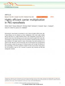 Highly efficient carrier multiplication in PbS nanosheets - Nature