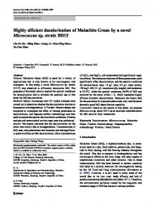 Highly efficient decolorization of Malachite Green by a ... - Springer Link