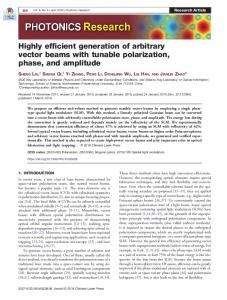 Highly efficient generation of arbitrary vector beams ... - OSA Publishing