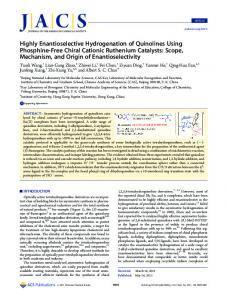 Highly Enantioselective Hydrogenation of Quinolines Using ...