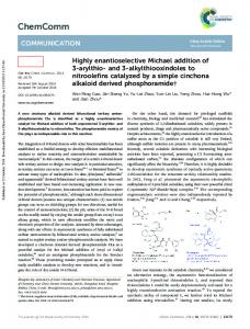 Highly enantioselective Michael addition of 3-arylthio ...