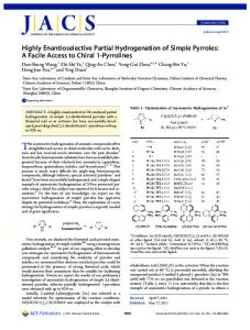 Highly Enantioselective Partial Hydrogenation of Simple Pyrroles: A ...