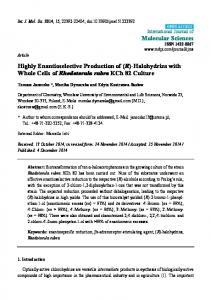 Highly Enantioselective Production of (R)-Halohydrins ... - CiteSeerX