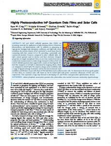 Highly Photoconductive InP Quantum Dots Films and