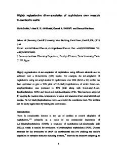 Highly regioselective di-tert-amylation of naphthalene over ... - ORCA