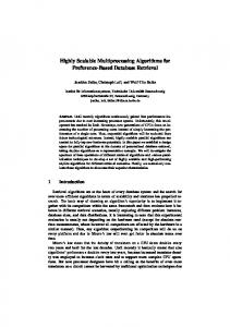 Highly Scalable Multiprocessing Algorithms for Preference ... - CiteSeerX