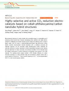 Highly selective and active CO2 reduction electro- catalysts ... - Nature