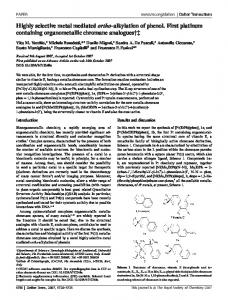 Highly selective metal mediated ortho-alkylation of ...
