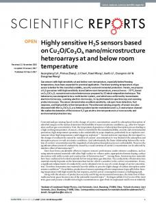 Highly sensitive H2S sensors based on Cu2O