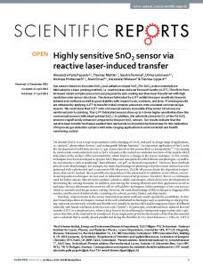 Highly sensitive SnO2 sensor via reactive laser