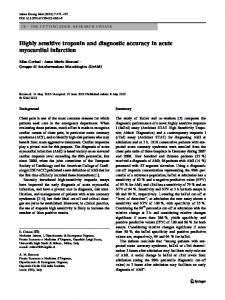 Highly sensitive troponin and diagnostic accuracy in acute myocardial ...