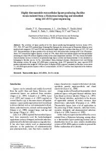 Highly thermostable extracellular lipase-producing Bacillus strain ...