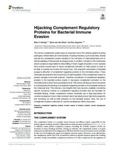 Hijacking Complement Regulatory Proteins for Bacterial ... - Frontiers