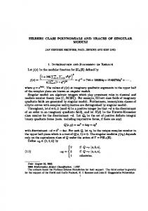 HILBERT CLASS POLYNOMIALS AND TRACES OF SINGULAR ...