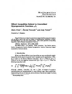 Hilbert Inequalities Related to Generalized Hypergeometric Functions