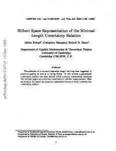 Hilbert Space Representation of the Minimal Length Uncertainty
