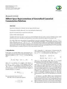 Hilbert Space Representations of Generalized Canonical ...
