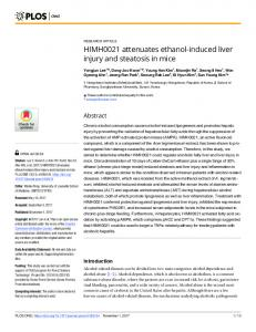 HIMH0021 attenuates ethanol-induced liver injury ... - Semantic Scholar