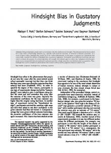 Hindsight Bias in Gustatory Judgments - Hogrefe eContent