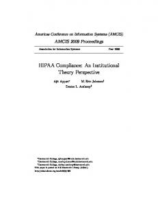 HIPAA Compliance: An Institutional Theory Perspective - CiteSeerX