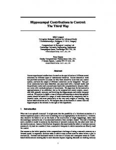 Hippocampal Contributions to Control: The Third Way - NIPS ...