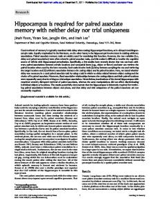 Hippocampus is required for paired associate memory ... - CiteSeerX