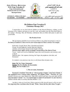 His Holiness Pope Tawadros II Christmas Message 2013 Coptic ...