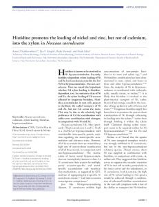Histidine promotes the loading of nickel and zinc, but not of cadmium ...
