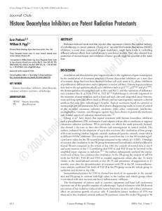Histone deacetylase inhibitors are potent radiation protectants