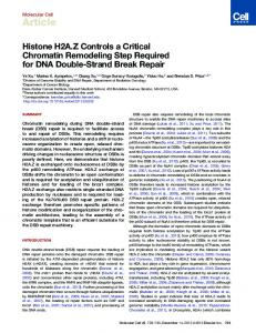 Histone H2A.Z Controls a Critical Chromatin Remodeling Step ...