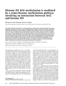 Histone H3 K36 methylation is mediated by a trans-histone ...