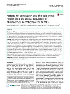 Histone H4 acetylation and the epigenetic reader ... - Semantic Scholar