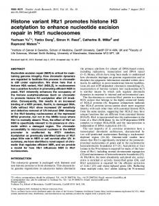 Histone variant Htz1 promotes histone H3 acetylation ... - BioMedSearch